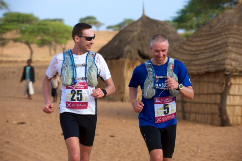 Running through a village in Africa